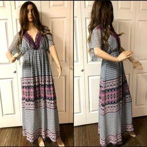 Xhilaration Maxi Dress Empire Waist Short Sleeve S